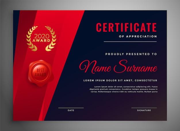 Modello di certificato multiuso rosso e nero