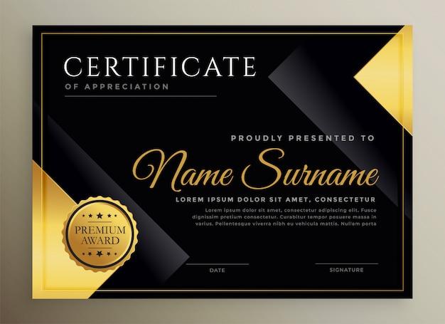 Modello di certificato nero e oro