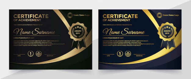 Modello di certificato nero premium