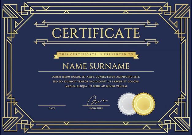 Modello di certificato o diploma.