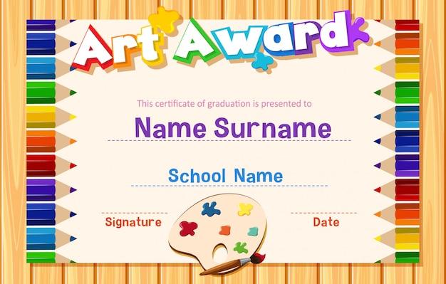 Modello di certificato per il premio d'arte con matite colorate