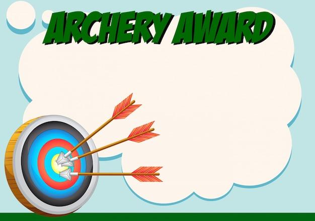 Modello di certificato per il premio di tiro con l'arco