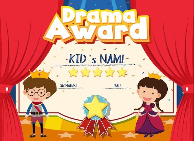 Modello di certificato per il premio drammatico con i bambini sul palco