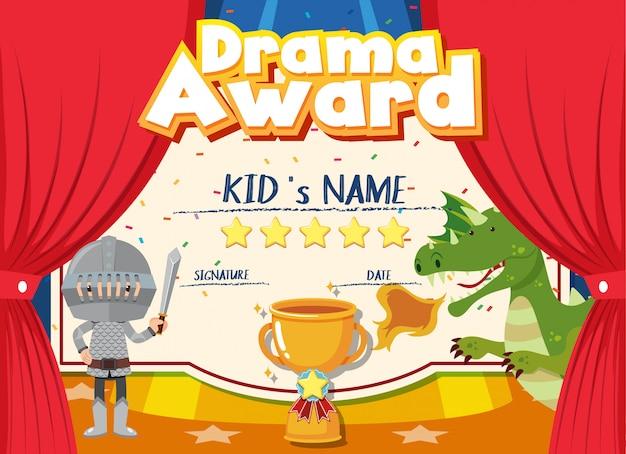 Modello di certificato per il premio drammatico con sfondo per bambini sul palco
