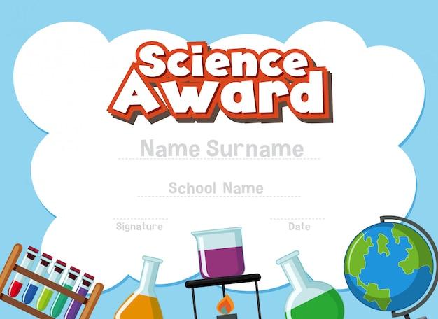 Modello di certificato per il premio scientifico con attrezzature scientifiche in background