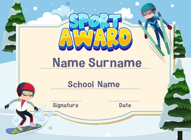Modello di certificato per il premio sportivo con bambini che giocano a sci