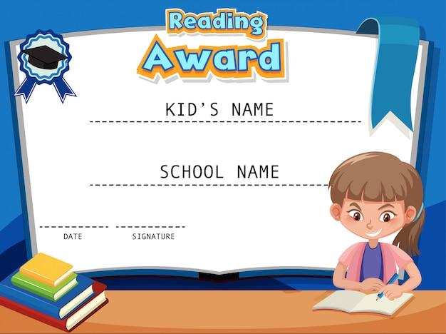 Modello di certificato per la lettura del premio con il libro di lettura della ragazza