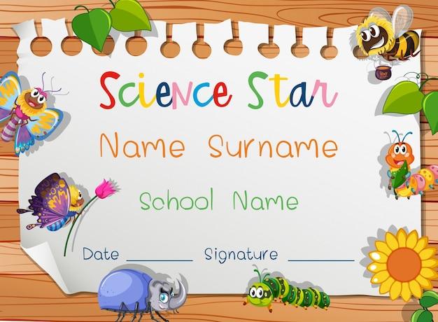 Modello di certificato per la stella della scienza