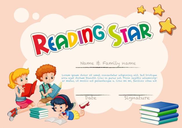 Modello di certificato per la stella di lettura