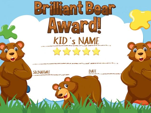 Modello di certificato per premio orso brillante