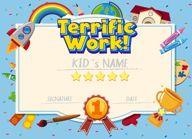 Modello di certificato per un lavoro eccezionale con la scuola e le attrezzature