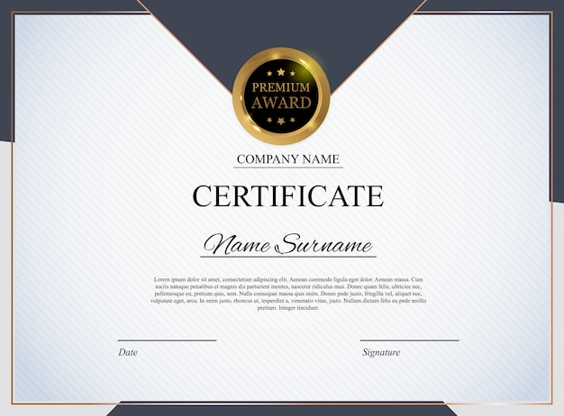 Modello di certificato. premio diploma design vuoto.