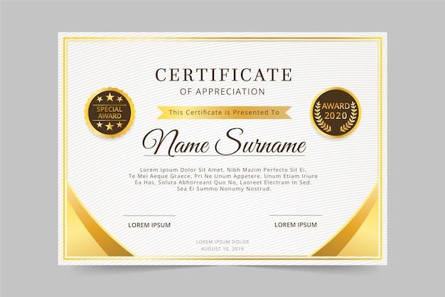 Modello di certificato premio elegante