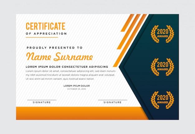 Modello di certificato premium. verde scuro nella parte sinistra. combinazione con i colori oro, verde, grigio e bianco