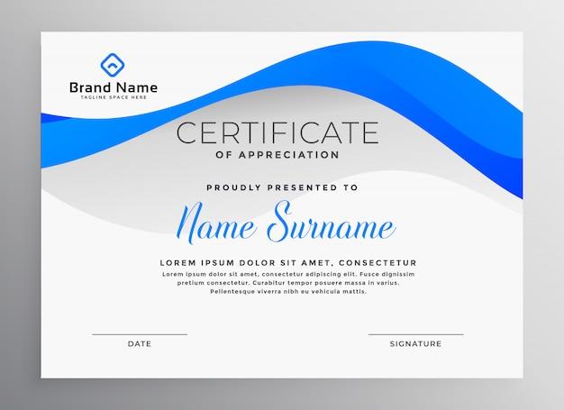 Modello di certificato professionale blu moderno