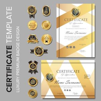 Modello di certificato professionale con badge