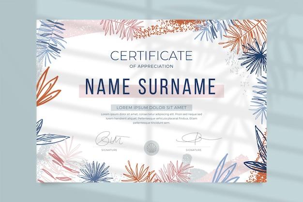 Modello di certificato professionale floreale