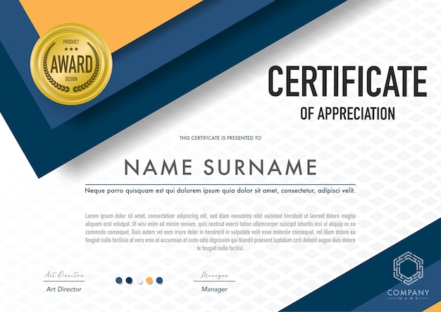 Modello di certificato stile moderno, lusso e diploma, illustrazione vettoriale.