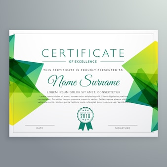 Modello di certificato vettoriale moderno con forme astratte verdi