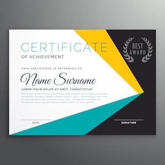 Modello di certificato vettoriale moderno con forme geometriche