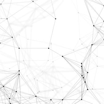 Modello di chimica, linee e punti di collegamento, struttura della molecola su bianco
