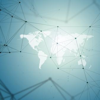 Modello di chimica, mappa del mondo bianco, linee e punti di collegamento, struttura della molecola su blu.