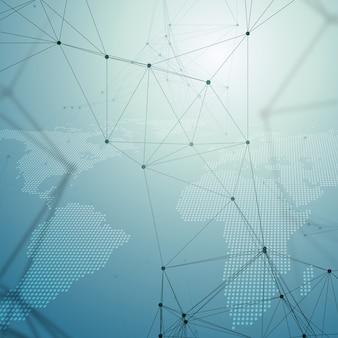 Modello di chimica, mappa del mondo tratteggiata, linee e punti di collegamento, struttura delle molecole