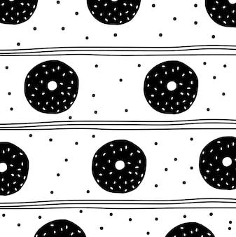 Modello di ciambella in bianco e nero