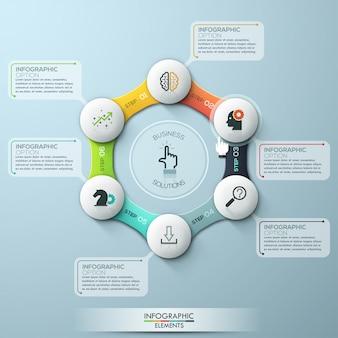 Modello di ciclo infografica moderna con cerchi di carta