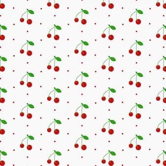 Modello di ciliegia senza soluzione di continuità, ciliegie rosse e sfondo bianco