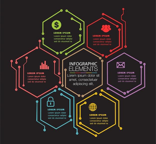 Modello di circuito casella di testo per sito web, banner infografica