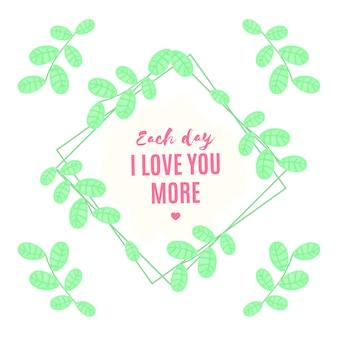 Modello di citazione di san valentino con foglie di acquerello
