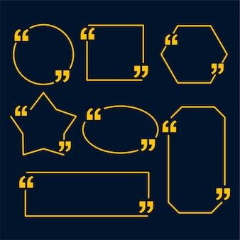 Modello di citazioni in stile linea in varie forme geometriche