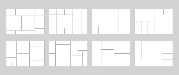 Modello di collage di foto. mood board vuoto. set di griglie di immagini.