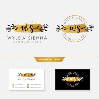 Modello di collezioni di logo femminile iniziale ws.