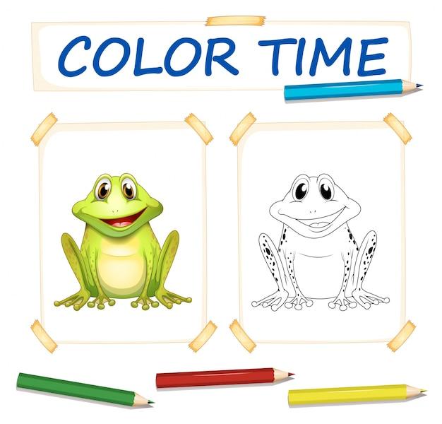 Modello di colorazione con rana cute
