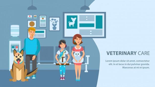 Modello di colore di vettore di bandiera clinica veterinaria