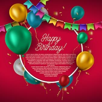 Modello di compleanno con palloncini colorati su sfondo rosso