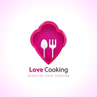 Modello di concetto di cucina chef logo premium
