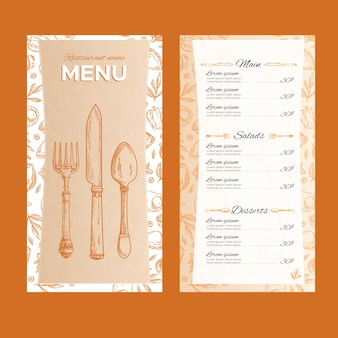 Modello di concetto di menu