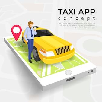 Modello di concetto di servizio app taxi