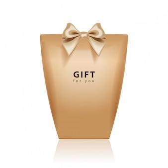 Modello di confezione regalo. realistico pacchetto marrone con fiocco dorato