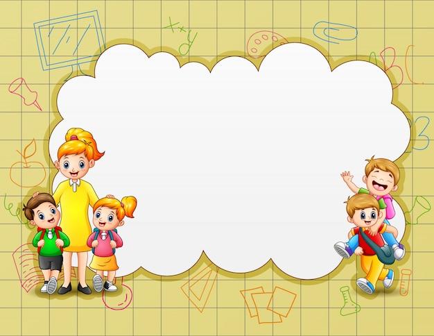 Modello di confine con bambini felici a scuola
