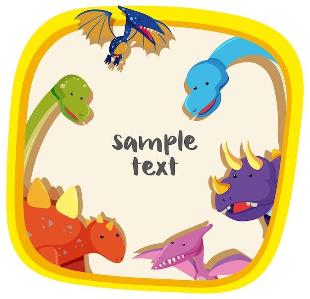 Modello di confine con diversi tipi di dinosauri
