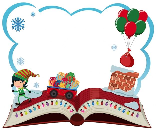 Modello di confine con elfo di natale e regali