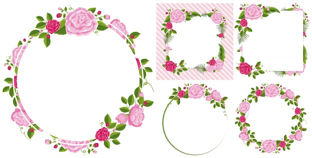 Modello di confine con rose rosa