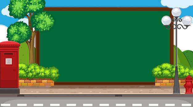 Modello di confine con sfondo di strada