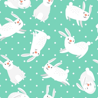 Modello di coniglio coniglietto bianco sul modello senza cuciture di pasqua di vettore verde
