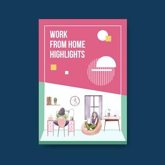 Modello di consulenza informativa quando le persone lavorano da casa. illustrazione di vettore dell'acquerello di concetto del ministero degli interni