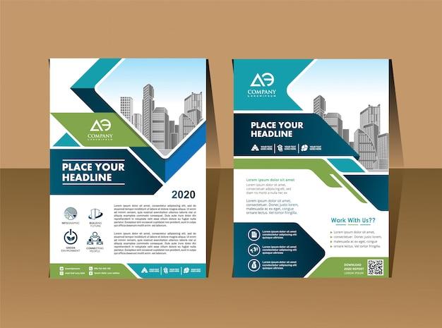 Modello di copertina a4 dimensioni opuscolo aziendale relazione annuale